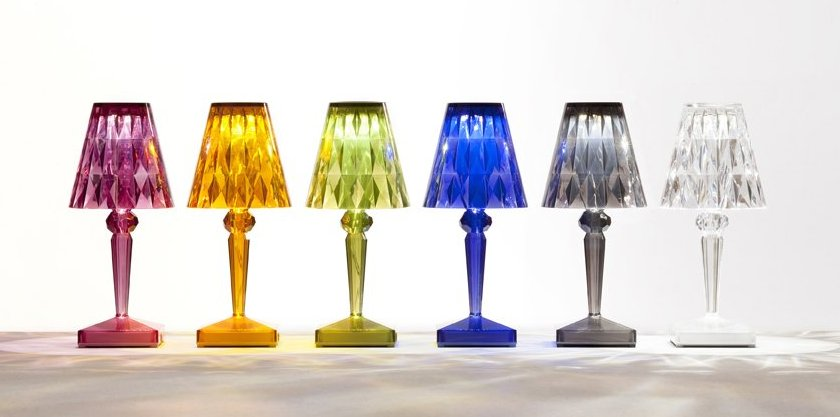 Lampe battery led chez kartell caroline munoz for Lampe dehors
